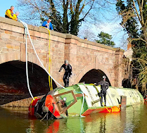capsized narrowboat