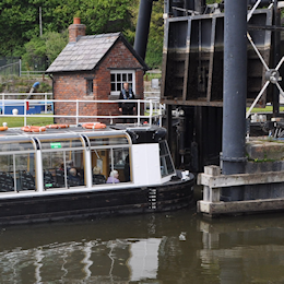 Trip boat entering the bottom of Anderton Lift