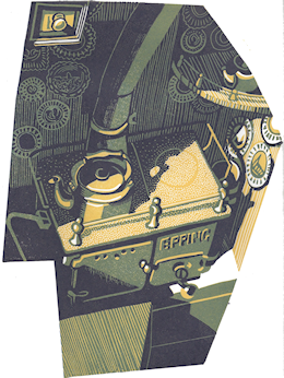 Linocut of backcabin stove and plates - Eric Gaskell