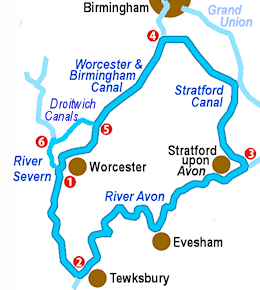 Avon Ring and Droitwich Ring Map